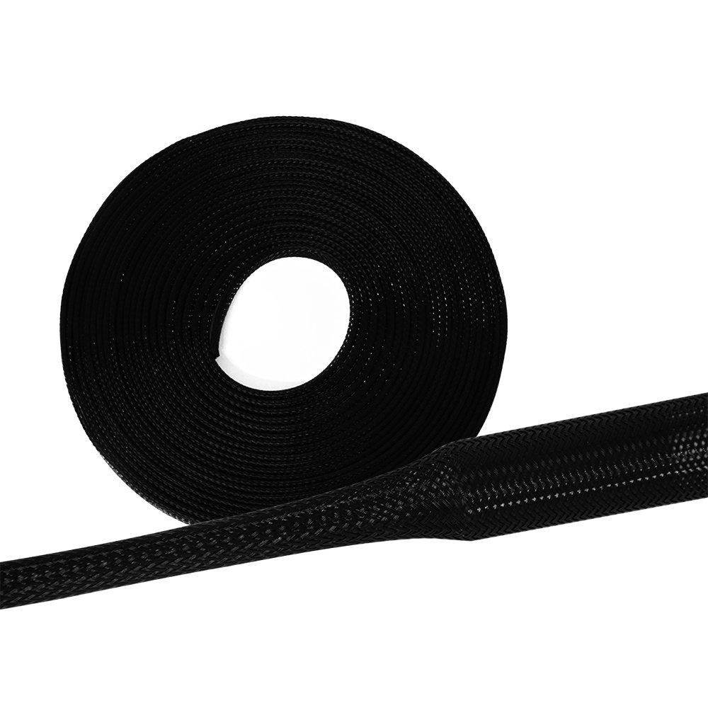 5 Meter Gewebeschlauch /Ø 6mm schwarz Geflechtschlauch Kabelschutz Kabelschlauch Schutzschlauch Lautsprecherkabel flexibel und robust dehnbar