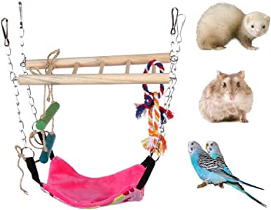 """Hamster Toy,Small Pet Swing Toy with Rope Accents & Climbing Ladder,Detachable Swinging Hammock for Birds, Hamsters, Sugar Gliders & Other Mini Caged Animals (9.06"""" L x 3.74"""" W x 12.6"""" H)"""