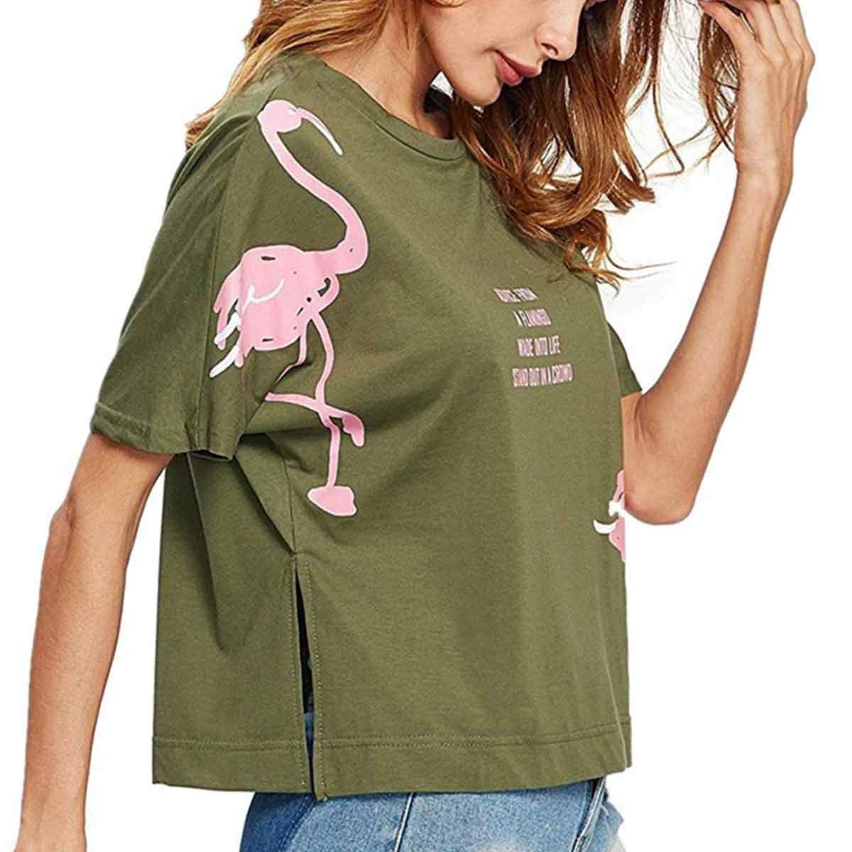 Side Split Manga Corta Camisetas Women Flamingo Letters impresión ...