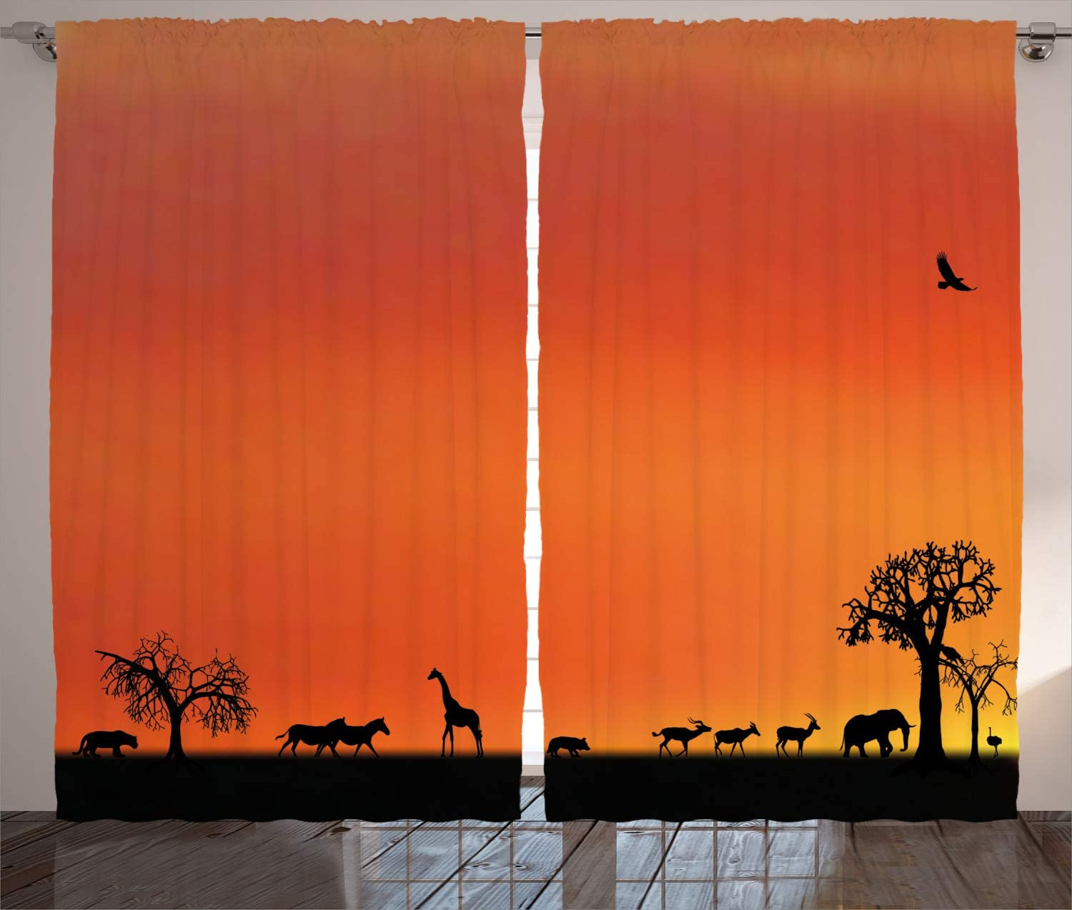 Ambesonne Africa Curtains, Panorama of Safari Animals Gulls Reflections in Background at Sunset Scenery, Living Room Bedroom Window Drapes 2 Panel Set, 108