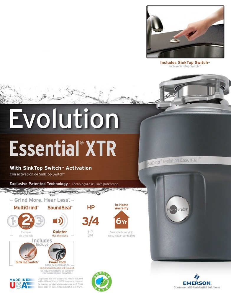 InSinkErator Essential XTR Garbage Disposal, 3/4 hp Food Disposal Unit, Gray