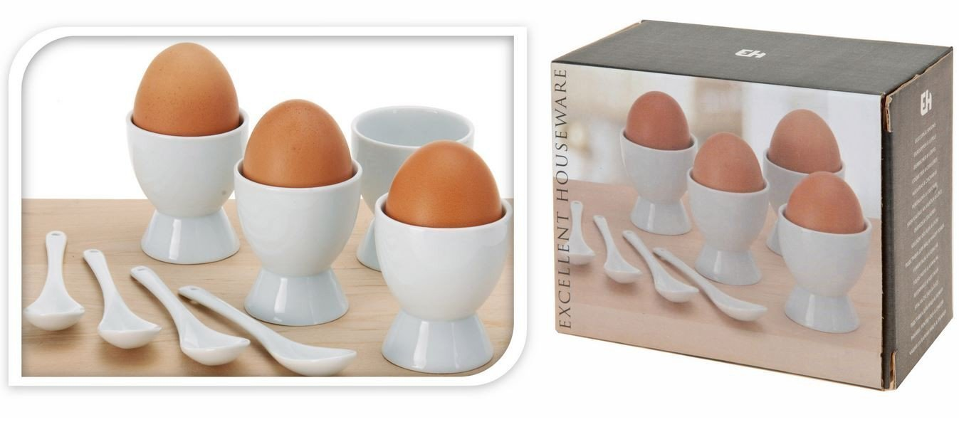 8 Piece Porcelain Eggcups Egg Cups & Porcelain Spoons Perfect for kitchen & gift MTS