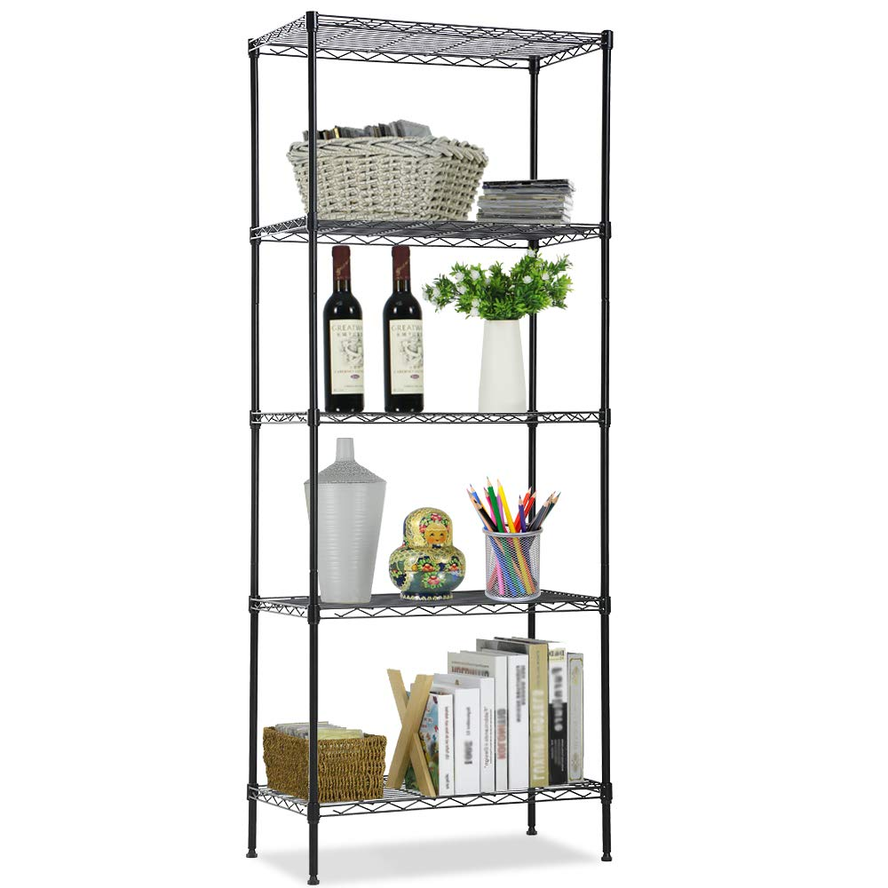Wire Shelving Unit, NSF 5-Tier Layer Shelf Utility Steel Commercial Grade Storage Shelves 24''L x 14''W x 60''H Heavy Duty Metal Shelves Organizer Rack with Leveling Feet for Kitchen Office Garage, Black