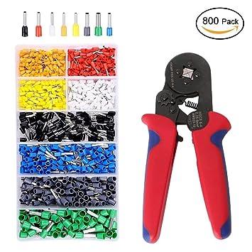 ///Alambre crimpadora pelacables/cortar Kit con 800 piezas aislado terminales de alambre conectores crimpadora de carraca para crimpar cable de alambre de 0 ...