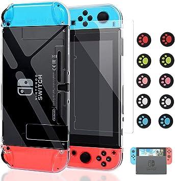 Ponnky Funda para Nintendo Switch Dockable [actualizada], Carcasa Protectora Nintendo Switch y Switch Joy-con Controlador con 1 Paquete de Protector de Pantalla de Vidrio Templado: Amazon.es: Electrónica