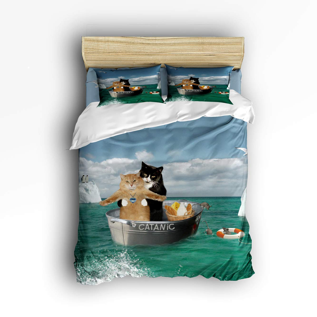 Pink Sky Duvet Cover Set Boys Girls,Cats Sitting on The Bucket Travel at Sea Bed Sheet Set,4 Piece Include 1 Flat Sheet 1 Duvet Cover 2 Pillow Cases Full