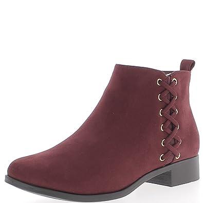 Bordeaux bajo botas de tacón de 3cm aspecto ante cordón decorativo - 36 NjyXIAETf