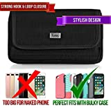 Rugged Heavy Duty Nylon Canvas Horizontal EXTRA LARGE Oversize Belt Clip Case Pouch Holster for Samsung Galaxy S III Galaxy S3 Galaxy S4 Galaxy S IV [PERFECT FITS WITH OTTERBOX DEFENDER ON IT ]