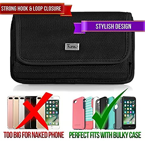 Rugged Heavy Duty Nylon Canvas Horizontal EXTRA LARGE Oversize Belt Clip Case Pouch Holster for LG Spectrum Revolution 2 Nitro HD P930 Optimus 4X HD P880 [PERFECT FITS WITH OTTERBOX DEFENDER ON IT (Lg Nitro Hd P930 Otter Box)
