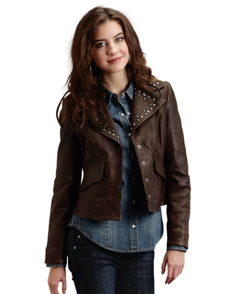 Brown Crinkled Leather Jacket With Nailhe Stetson Ladies Collection-oute (s) 11-098-0539-6664BR