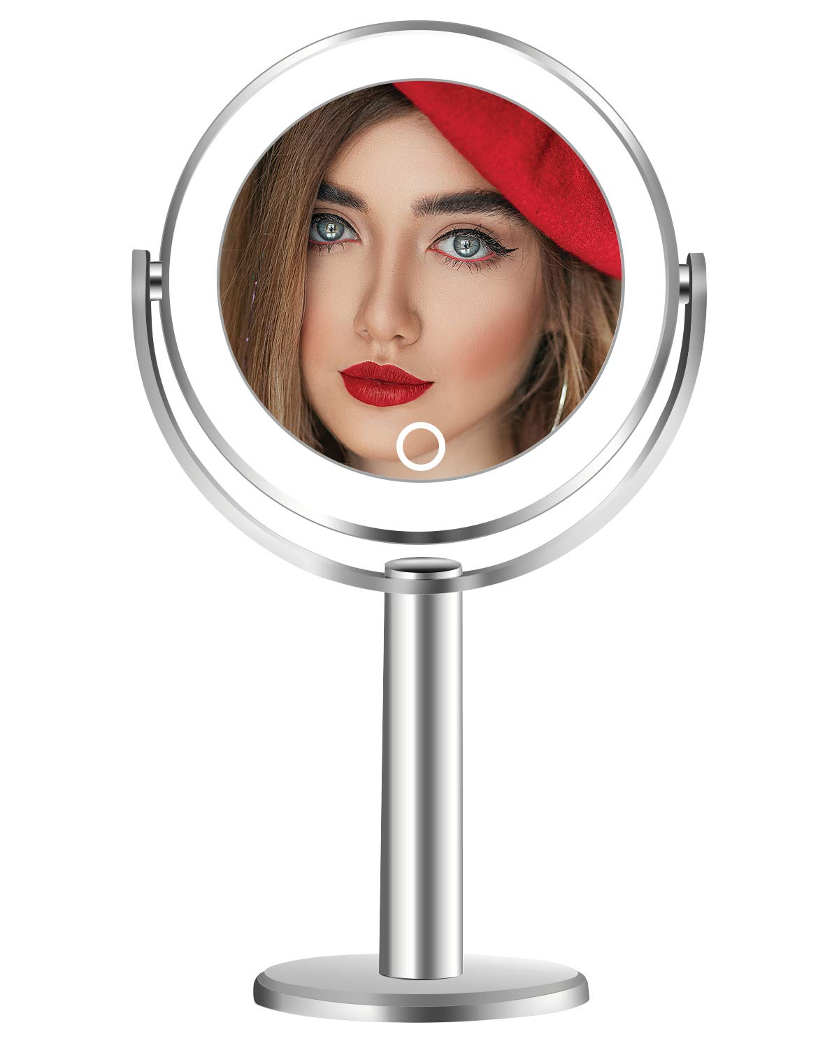 Vanity Makeup Mirror with Lights, 1X and 7X Magnifying Round Led Lighted Cosmetic Mirror