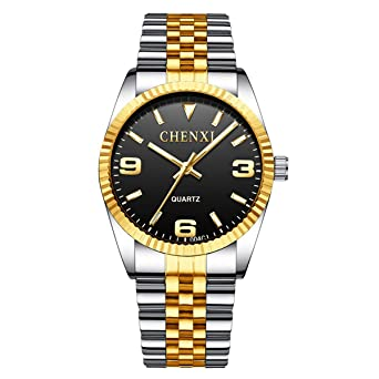 Oliqueen Classic Edelstahl Herrenuhr Gold Silber Armband Quarz yIfgv67Yb