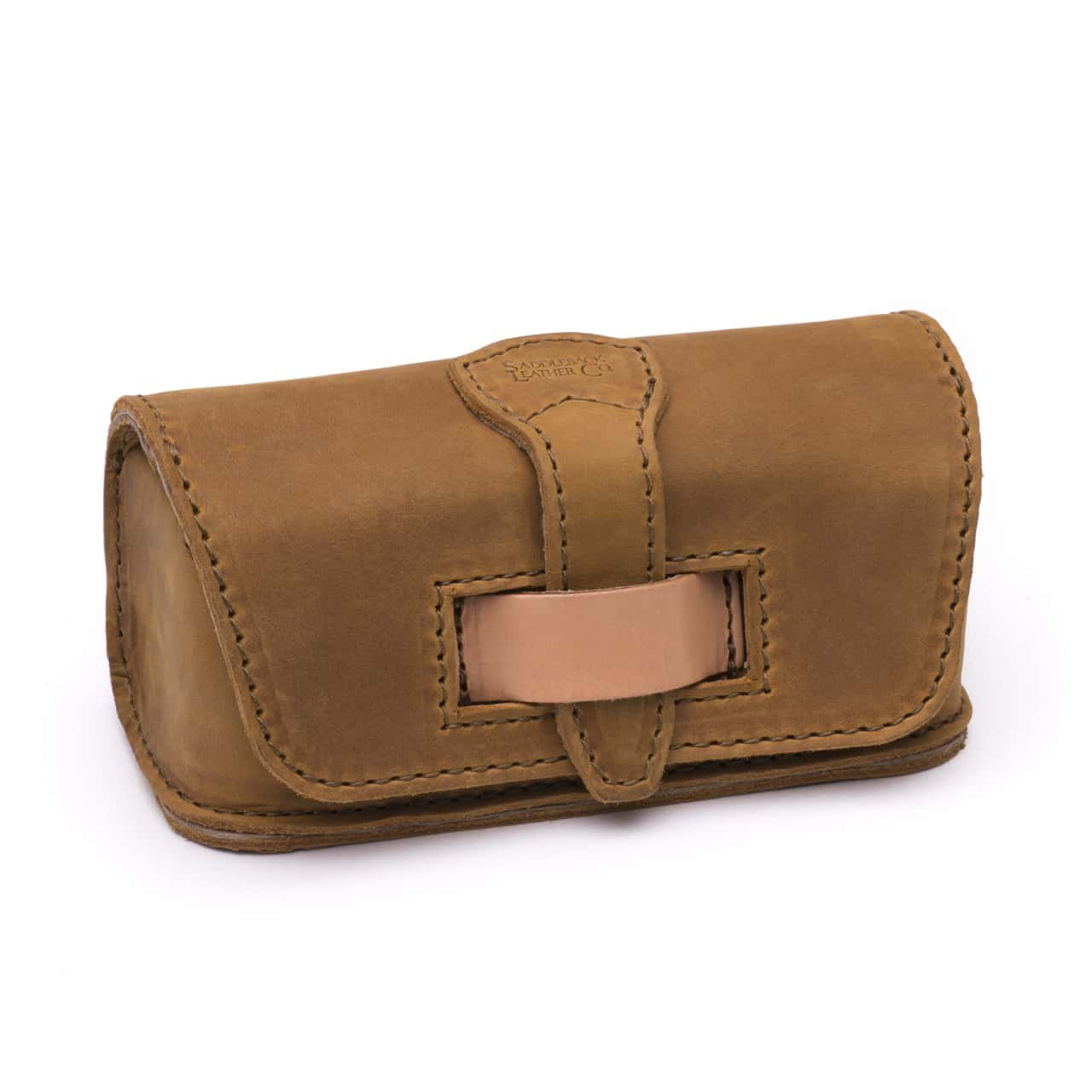 Saddleback Leather Co. Hard Protective Leather Glasses, Pencil or Makeup Case Includes 100 Year Warranty