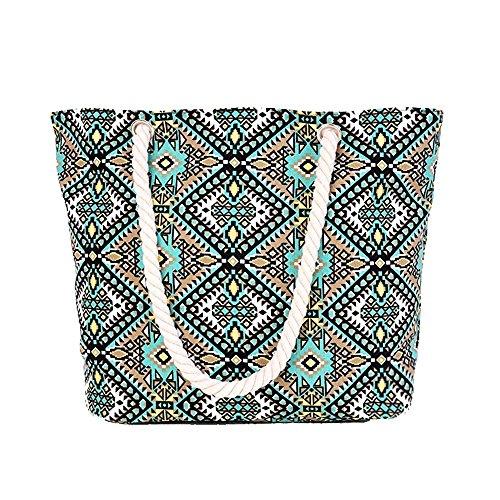 Playa Compras Impresión Bolsa Mujer Hombro Bolsa Del Bolso De De Geometría Verde Minetom Del Mano De Los Totalizadores a6wxq4