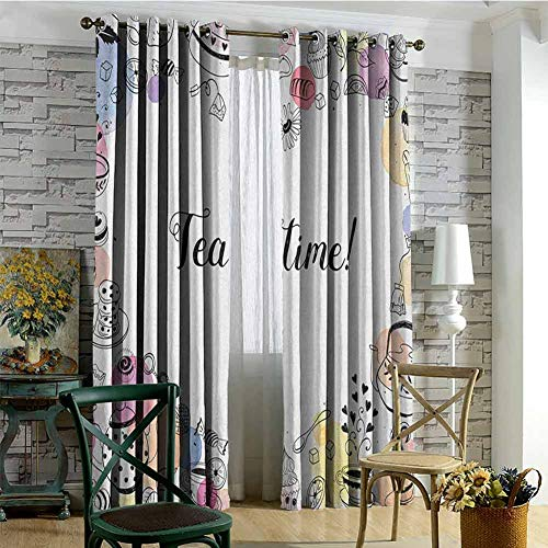 hengshu Tea Party Blackout Curtains - Gasket Insulation Cute Doodle Style Frame with Tea Time Retro Lettering Cups Sweets Colorful Dots Blackout Curtains for The Living Room W84 x L72 Inch Multicolor (Snowman Made Out Of Cups For Door)