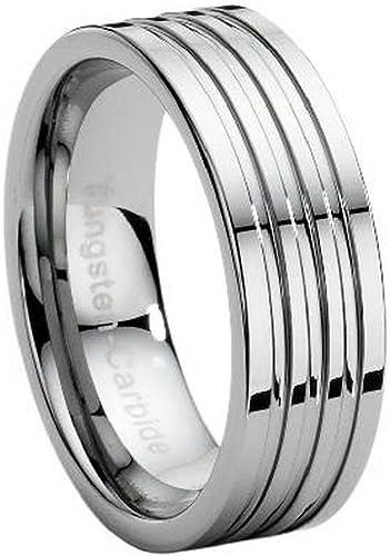 MEN/'s Tungsten Carbide 8mm Black Stripe Wedding Band Ring Size 9-13