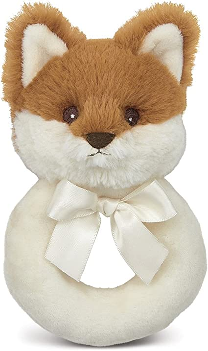 8 inches Bearington Baby Fritz Plush Stuffed Animal Red Fox with Rattle