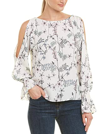 9cce5734b6a71 Vince Camuto Womens Long Sleeve Flare Cuff Cold Shoulder Botanical Floral  Blouse New Ivory XS One