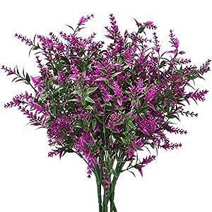 Artificial Lavender Flowers, Fake Lavender Plant Bundle Artificial Lavender Flowers Bouquet Lavender Arrangements Artificial Lavender with Silk Flowers for Wedding Garden Patio Home Decor(6 pcs)
