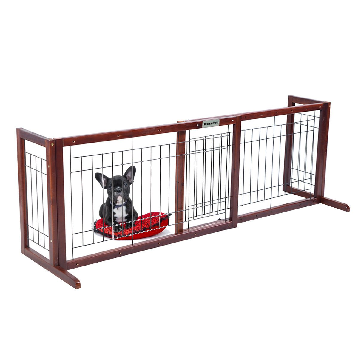 DazzPet Free Standing Pet Gates | Extra Wide Indoor Small Dog Gate | Expandable Puppy Safety Gate | Wooden Long Door 40'' to 71'' Adjustable Inside Doggy Fence