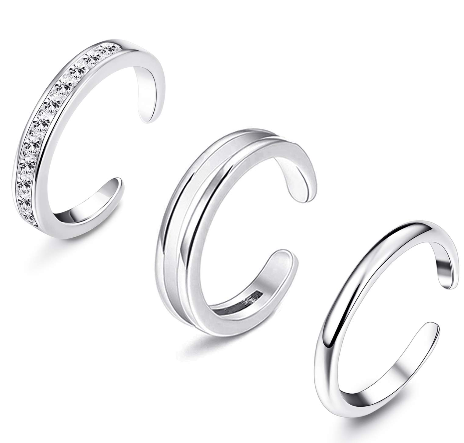 Sllaiss Sterling Silver Toe Rings for Women Hypoallergenic Adjustable Open Cuff Toe Ring Platinum Plating Cubic Zirconia Toe Rings Foot Jewelry