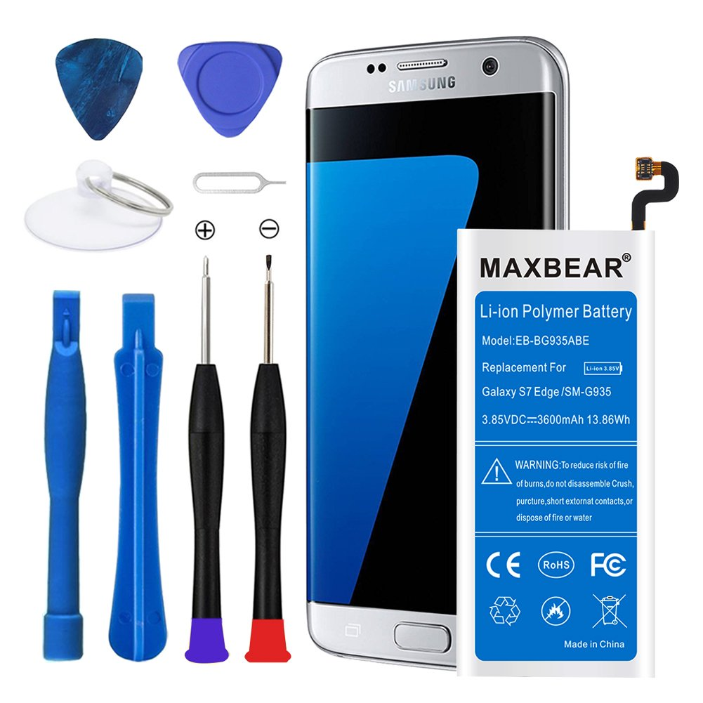 MAXBEAR Galaxy S7 Edge Battery, [3600mAh] Lithium Polymern Internal Battery Replacement for Samsung Galaxy S7 Edge SM-G935 EB-BG935ABE with Free Tool.[12 Month Warranty] by MAXBEAR (Image #1)