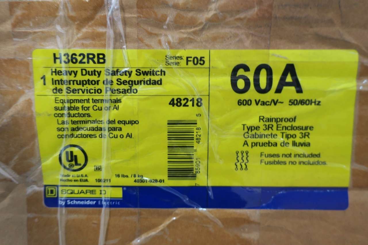 NEW SQUARE D H362RB 60A 600V-AC 3P FUSIBLE SAFETY DISCONNECT SWITCH D537667 by Square D (Image #9)
