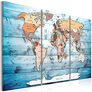 murando Tablero De Corcho & Cuadro en Lienzo 120×80 cm No Tejido XXL Estampado Memoboard Decoración De Pared Impresión Artística Fotografía Gráfica Poster Mapamundi Continente – k-C-0035-p-h