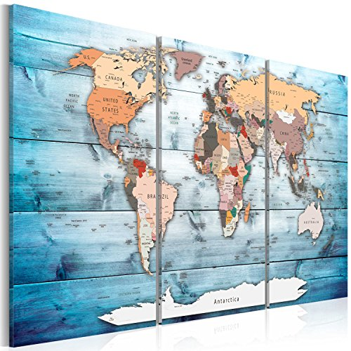 507191e486b Wallfillers Large Pink Grey Map of World Atlas Canvas Wall Art Print ...