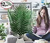 12 Pack Artificial Palm Plants Leaves Faux Fake Tropical large Palm Tree Leaves Imitation Leaf Artificial Plants for Home Kitchen Party Flowers Arrangement Wedding Decorations