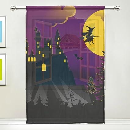 Amazon Com Imobaby Halloween Witch Bats Vampire Sheer Window