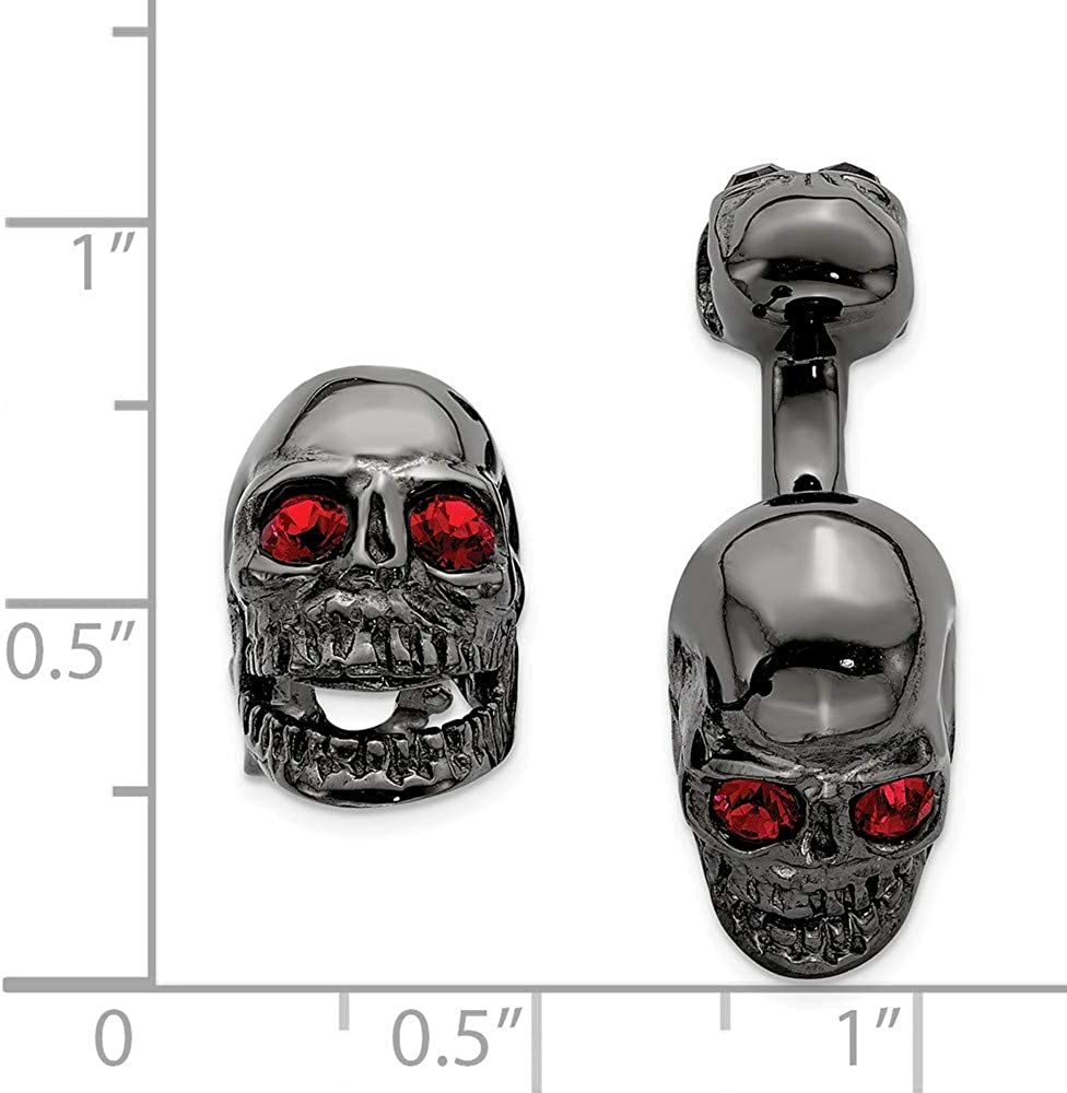 925 Sterling Silver Mens Ss Ruthenium Plated Swarovski Element Movable Skull Cuff Link