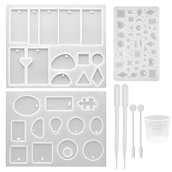 SelfTek Paquete de 3 Moldes de Fundición de Joyería Moldes Colgantes de Silicona para la Fabricación