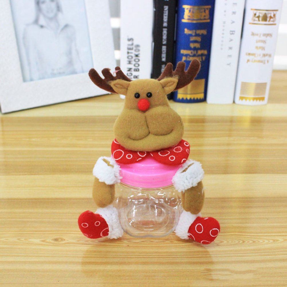 LingStar Christmas Plush & PVC Candy Container Jars Small Santa Claus