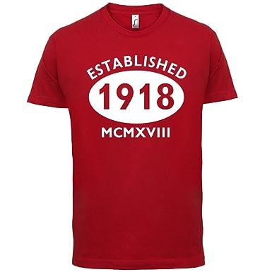 Gegründet 1918 Römische Ziffern - 100 Geburtstag - Herren T-Shirt - Rot - XS