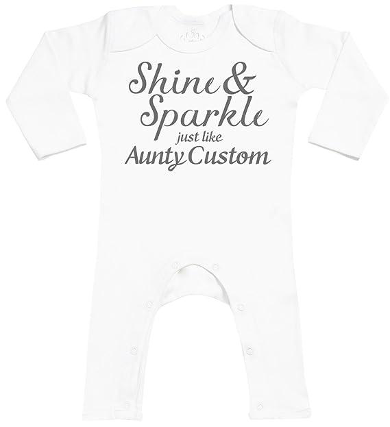 Personalizados bebé Shine & Sparkle Like Aunty Custom Footless - personalizados peleles para bebé - peleles