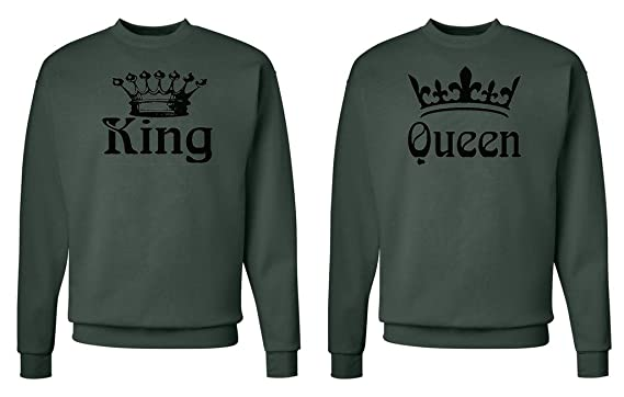 aae447530f FASCIINO Matching His & Hers Couple Crewneck Sweatshirt Set - King and Queen  Crowns (King