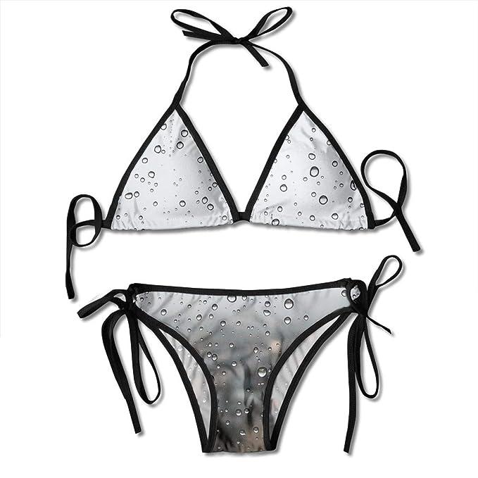 Ventana Gota de Lluvia Bikini Sexy para Mujer Traje de baño Traje de baño Traje de baño de triángulo Trajes de Dos Piezas: Amazon.es: Ropa y accesorios
