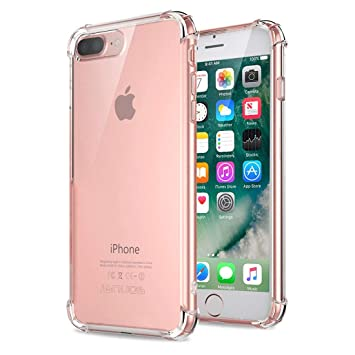 Jenuos Funda iPhone 7 Plus, Carcasa Protectora de Silicona Transparente, con TPU Antigolpes, para iPhone 7 Plus de 5.5