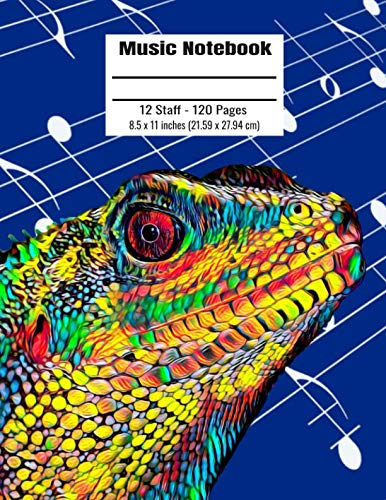 Music Notebook: 120 Blank Pages 12 Staff Music Manuscript Paper Colorful Chinese Water Dragon Cover 8.5 x 11 inches (21.59 x 27.94 cm)