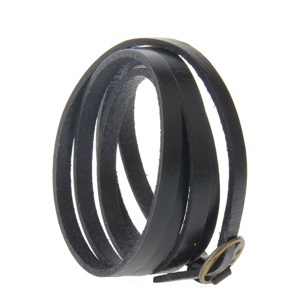 Jenia Adjustable Genuine Leather Bracelet Wrap Cuff Multilayer Wristband for Women and Men by Jenia (Image #5)
