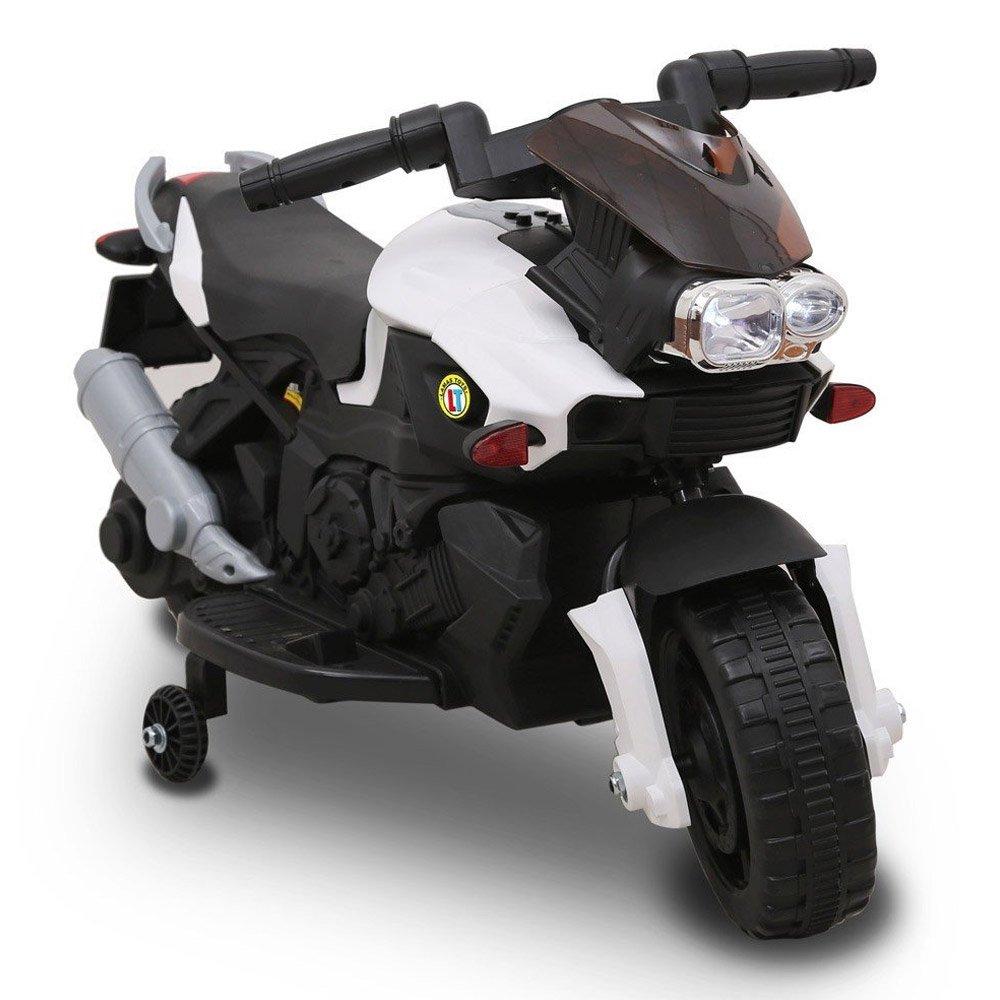 BAKAJI Moto Elettrica per Bambini Sprint 6V Controllo a Pedale Luci e Suoni (Bianco)