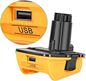 Replacement Dewalt 20V DCA1820 with USB Adapter Compatible with Dewalt 18V Tools, Convert Dewalt 20V Lithium Battery DCB204 DCB205 DCB206 DCB606 to Dewalt 18V NiCad NiMh Battery Tools DC9096 DW9096