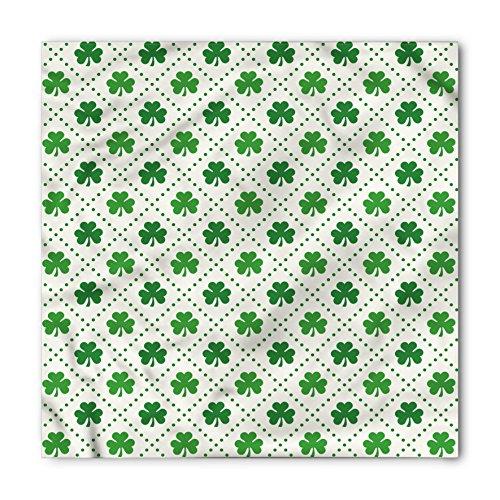 (Ambesonne Unisex Bandana, Irish Four Leaf Shamrock Dots, White Green)