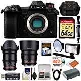 Panasonic Lumix DC-G9 4K Wi-Fi Digital Camera Body with Rokinon 35mm & 85mm T/1.5 Lenses + 64GB Card + Battery + Case + LED Video Light + Kit
