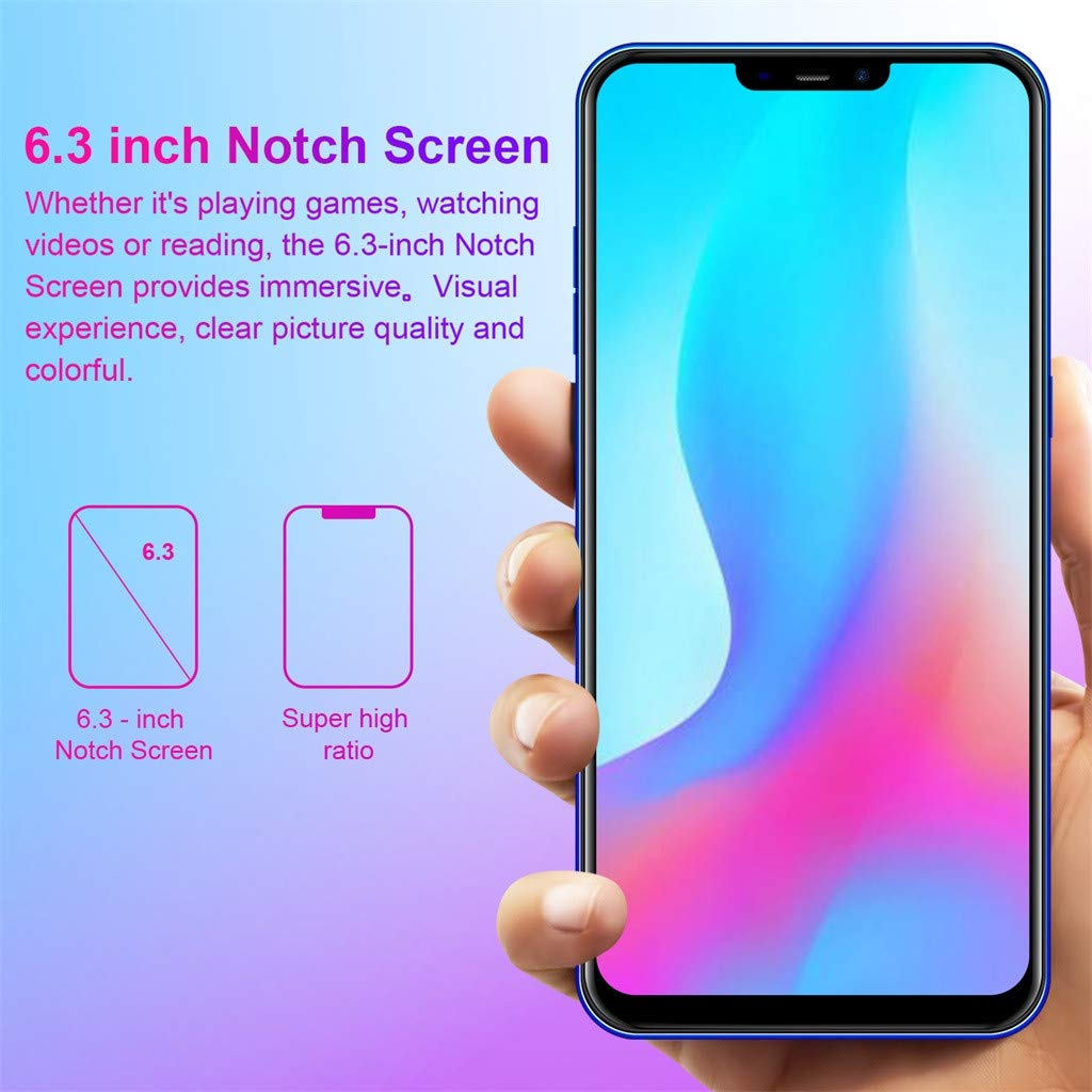 NDGDA Eight Core 6.3 inch Dual HD Camera Smartphone Android 8.1 16GB Touch Screen WiFi Bluetooth GPS 3G Call Mobile Phone (Blue) by NDGDA Smart Phone (Image #3)