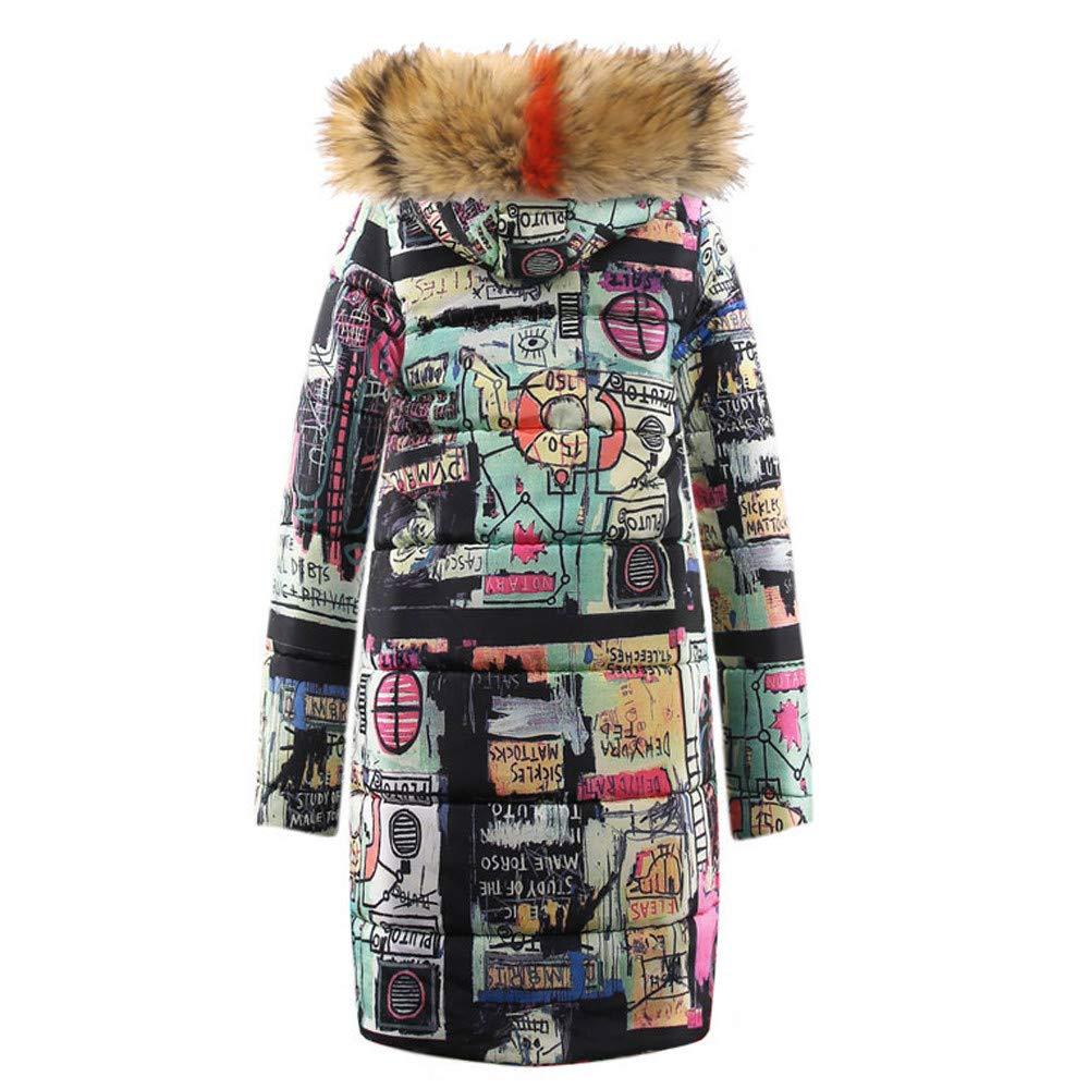 Women Teen Girl's Winter Coat Graffiti Pattern Thick Padded Long Jacket Zipper Parka with Fur Hood by Cuekondy by Cuekondy