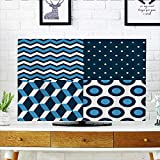 L-QN Protect Your TV Arine Collecti withVertical Horiztal Zigzag Dotted Patterns Protect Your TV W30 x H50 INCH/TV 52""