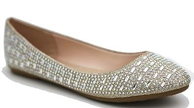 edd692cd444e Amazon.com   Walstar Women Casual Rhinestone Glitter Mesh Slip On ...