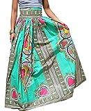 Yayu Women Africa Print High Waist Totem Pleated Swing A-line Maxi Long Skirts 1 M
